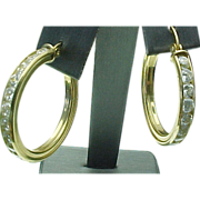 Vintage 14K Gold 2.5 Carat Faux Diamond Hoop Earrings