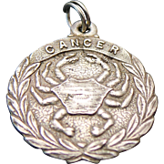 Sterling Silver Zodiac Cancer Disc Charm