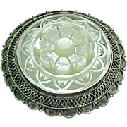 Vintage Sterling Silver Carved Mother of Pearl Brooch