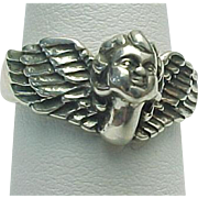 Kabana Sterling Silver Cherub Angel Ring Guardian Angel