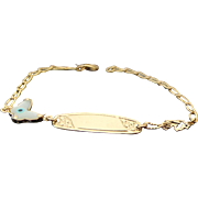 14K Yellow Gold Enameled Butterfly Child's ID Bracelet