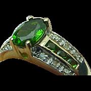 Vintage Yellow Gold Chrome Diopside & Diamond Ring