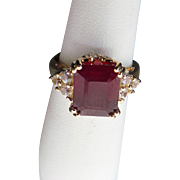10k Gold 3.15 ctw Created Ruby,White Spinel & Diamond Ring