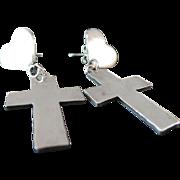 Vintage Sterling Silver Heart & Cross High Polished Dangle Earrings