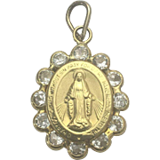14 K Yellow Gold Crystal Mother Mary Pray For Me Pendant