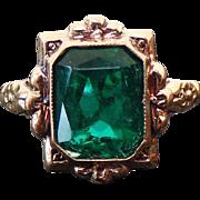 Art Deco 10K Yellow Gold 3.00 Carat Emerald Cut Simulated Emerald