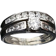 Beautiful Handcrafted 14 Karat White Gold 1.25 Carat SI1 G-H Diamond Engagement Ring & Diamond Wedding Band Set.