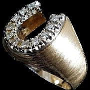 Stunning Gents 14 Karat Yellow & White Gold 1/3 Carat Diamond Good Luck Horseshoe Ring.