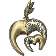 Custom 14 K Two Tone Gold ~ Double Initial M Diamond Pendant