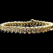 14K Yellow Gold 10.00 Ct TDW Round Cut Diamond Tennis Bracelet ~ ( VV S 2- VS-2 )