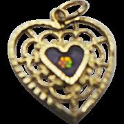 14K Yellow Gold Filigree Enamled Flower Heart Pendant/Charm
