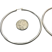 "Sterling Silver Extra Large 2-3/4"" Hoop Earrings"