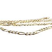 14 Karat Yellow Gold Figaro 5.00 mm Necklace ~ 22""