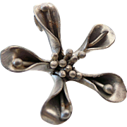 Sterling Silver Beautiful Three Dimensional Solid Flower Pendant