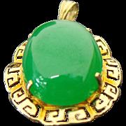 14K Yellow Gold 11.30 Carat Apple Green Jade Pendant ~ GIA ~