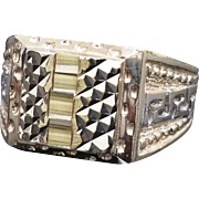 Stunning 10 Karat Yellow & White Gold Two Tone Greek Key Diamond Cut Unisex Ring