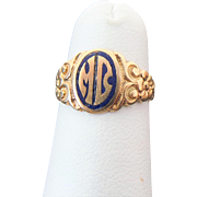 10K Yellow Gold Blue Enameled Initial Ring ~ M B~
