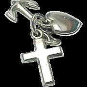 Sterling Silver 3D HEART, CROSS, ANCHOR, Love Faith Hope Charm/Pendant
