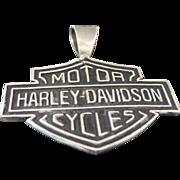 Vintage Sterling Silver Large Harley Davidson Shield Pendant