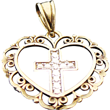 14K Two Tone Gold, Open Heart Cross Pendant