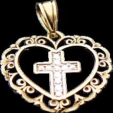 14K Two Tone Gold, Open Heart Cross Pendant