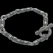 Unisex Sterling Silver Hematite Toggle Bracelet