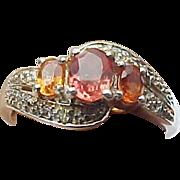 Vintage Sterling Silver Hessonite Garnet & Diamond Ring