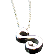 Vintage Sterling Silver Initial S Pendant/Necklace