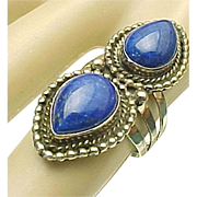 Navajo Running Bear Lapis Lazuli Sterling Silver Elongated Ring