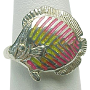 Vintage Sterling Silver Kabana Enameled FISH Ring