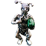 Vintage Sterling Silver Solid Jester The Clown Kachina Doll Pendant
