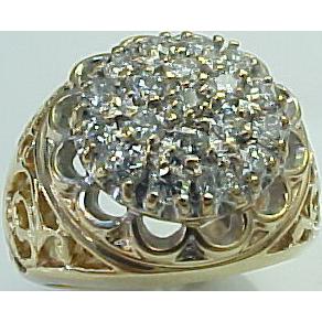 Vintage Filigree 10k Yellow Gold Kentucky Cluster Ring