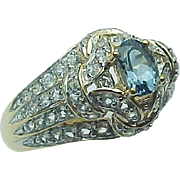 14K Yellow Gold .75 Carat Oval Blue Zircon & White Zircon Ring