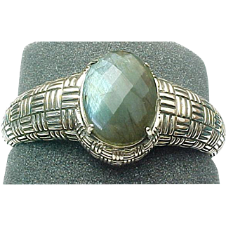 Beautiful Sterling Silver Labradorite Hinged Cuff