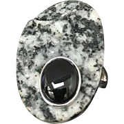 Sterling Silver Obsidian & Onyx Ring