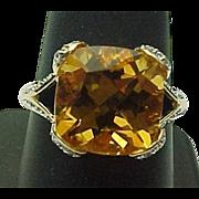 14K Yellow Cushion Cut Gold Citrine & White Topaz Ring