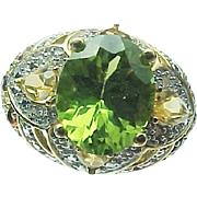 10K Yellow Gold 2.50 Carat oval Peridot, Citrine, Garnet Ring