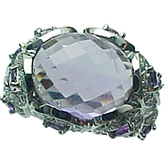 10K White Gold 5.00 Carat Amethyst & White Topaz Ring