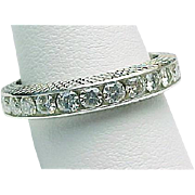 14K White Gold VS1 G-H 1.50 Carat Round Brilliant Diamond Eternity Band