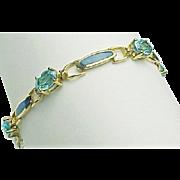 10K Yellow Gold Topaz & Opal Bracelet ~ Circa 1990