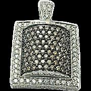 14K White Gold Brown & White Diamond Rectangle Pendant