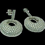 Sterling Silver Pierced Post Faux Diamond Dangle Earrings