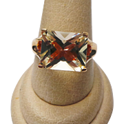 14K Yellow Gold Bytownite and Mexican Fire Opal Ring