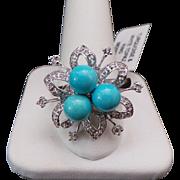 14K White Gold Persian Turquoise & White Topaz Flower Ring