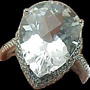 10K White Gold 10.18 Pear Shape White Topaz Ring