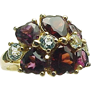 10K Yellow Gold Heart Garnets & Topaz Ring