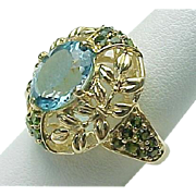 14K Yellow Gold 3.00 Carat Blue Topaz & Tsavorite Ring