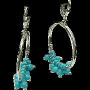 Sterling Silver Turquoise Beaded Hoop Earrings
