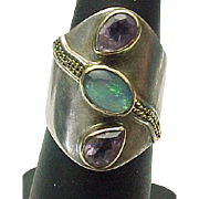 Sterling Silver Amethyst & Opal Elongated Ring