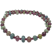 Stunning Natural Brazilian Faceted Ruby, Garnet, Peridot,Citrine, Topaz Rondelle Bead Necklace